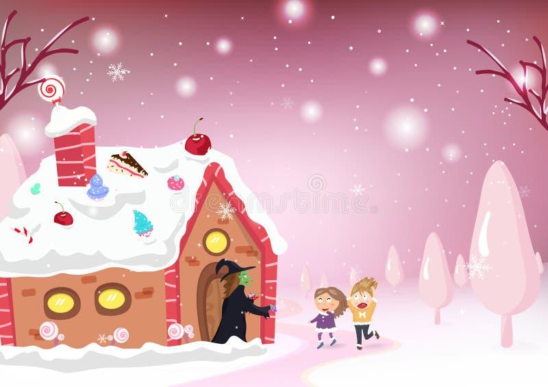 孩子动画片和幻想故事、糖果房子、巫婆、Hansel和g 向量例证