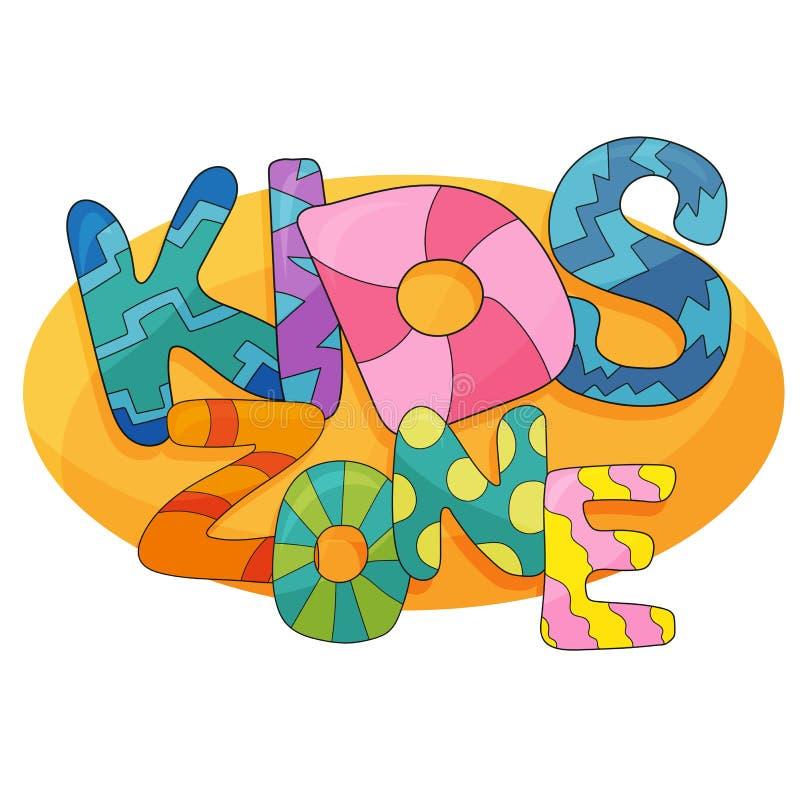孩子区域传染媒介动画片商标 儿童的游戏室的五颜六色的泡影信件 向量例证
