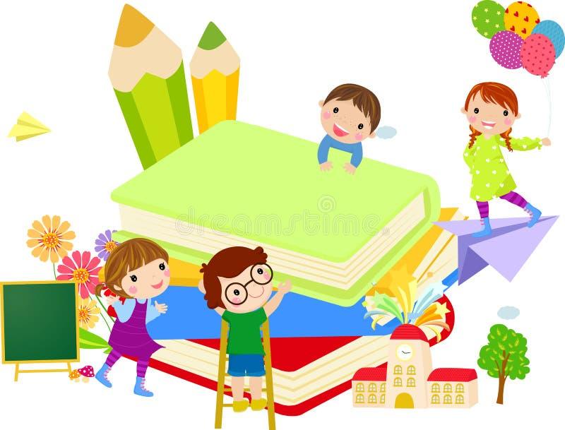 孩子和书 皇族释放例证