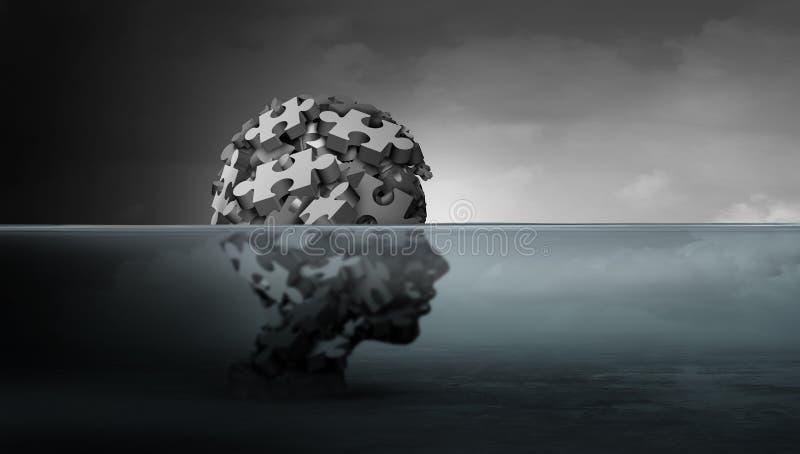 孩子和儿童心理学精神健康概念心理困厄作为遭受的脆弱的青年时期的标志 库存例证