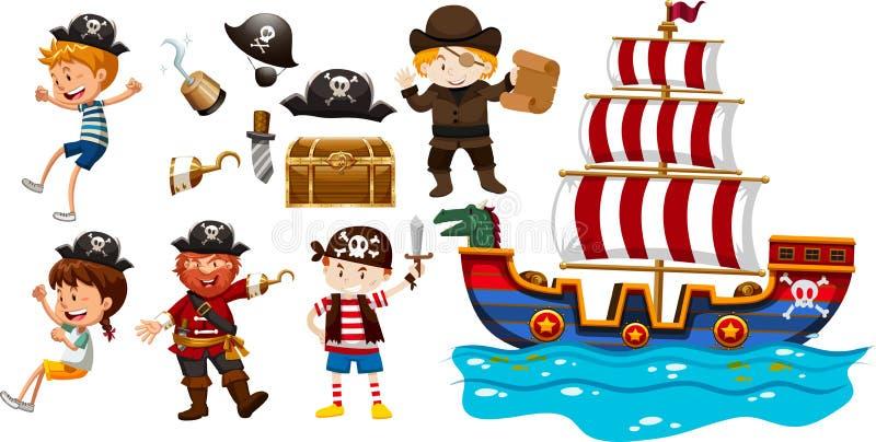 孩子和北欧海盗船 向量例证