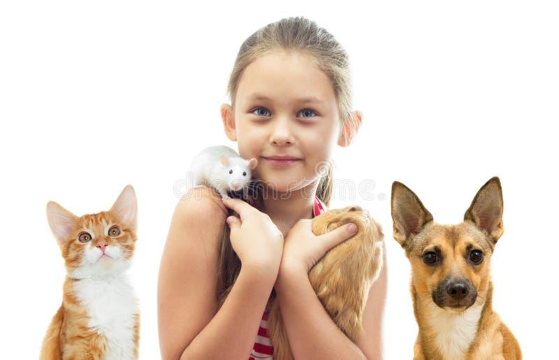 孩子和啮齿目动物和猫和狗 免版税库存图片