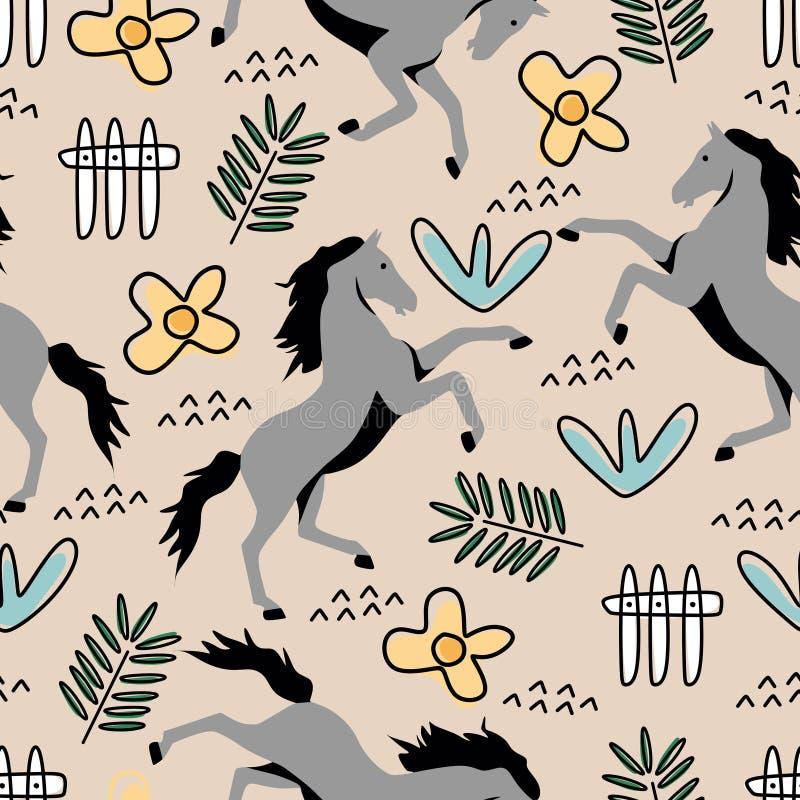 孩子和婴孩时尚纺织品印刷品的马手拉和花卉画的无缝的样式幼稚样式 皇族释放例证