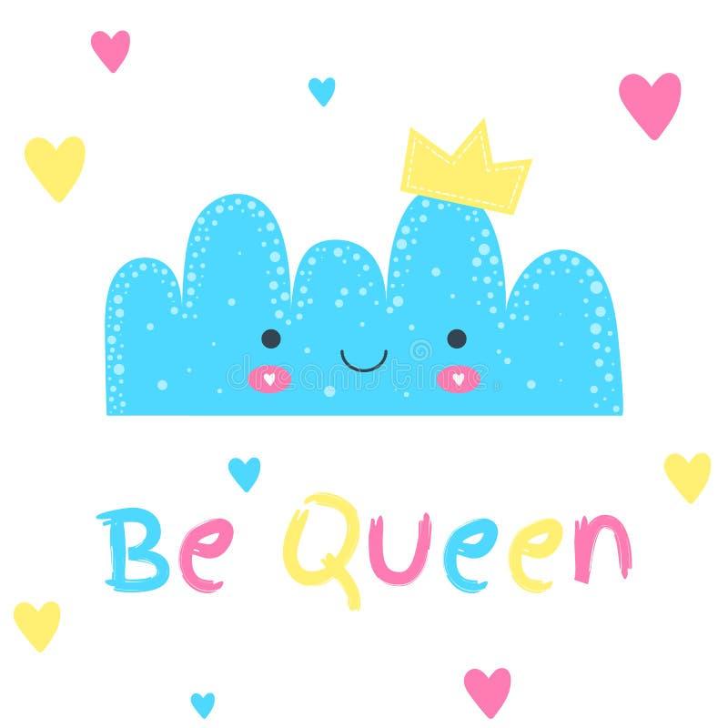 孩子和婴孩的印刷品 与冠和心脏的托儿所逗人喜爱的云彩 是女王/王后 蓝色,桃红色和黄色颜色 墙壁艺术 向量例证