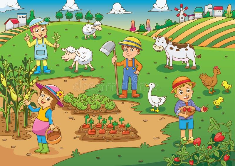 孩子和宠物在thefarm动画片 库存例证