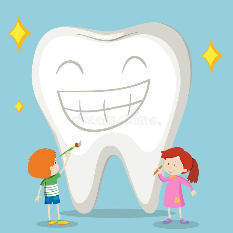 孩子和干净的牙 向量例证