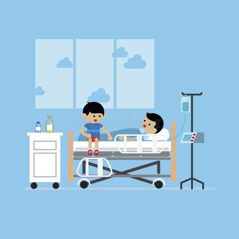 孩子和患者,患者的住院治疗 皇族释放例证
