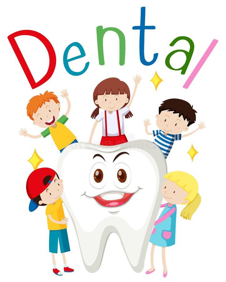 孩子和愉快的牙 库存例证