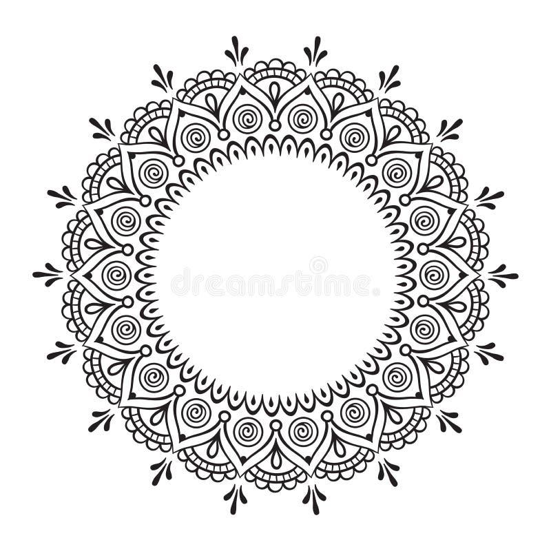 孩子和成人的彩图页 手拉的抽象设计 装饰印地安坛场 库存例证