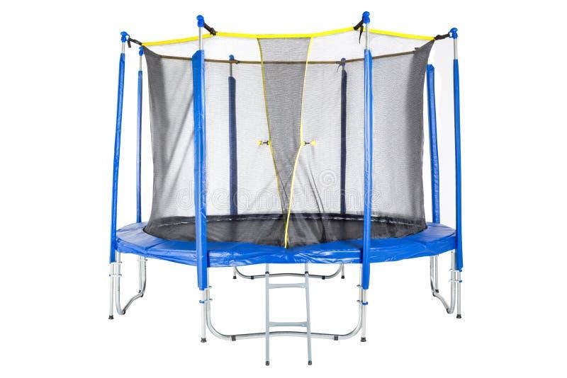 孩子和成人的绷床室内乐趣或跳跃在白色背景的室外健身的 被隔绝的蓝色绷床 免版税图库摄影