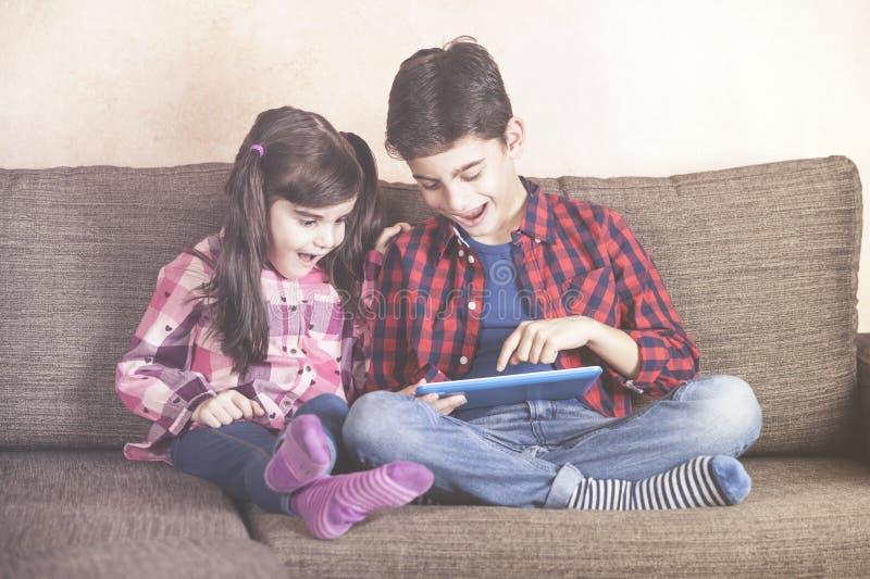 孩子和技术概念 库存图片