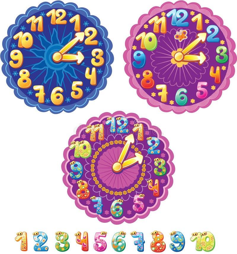 孩子和数字的时钟 向量例证