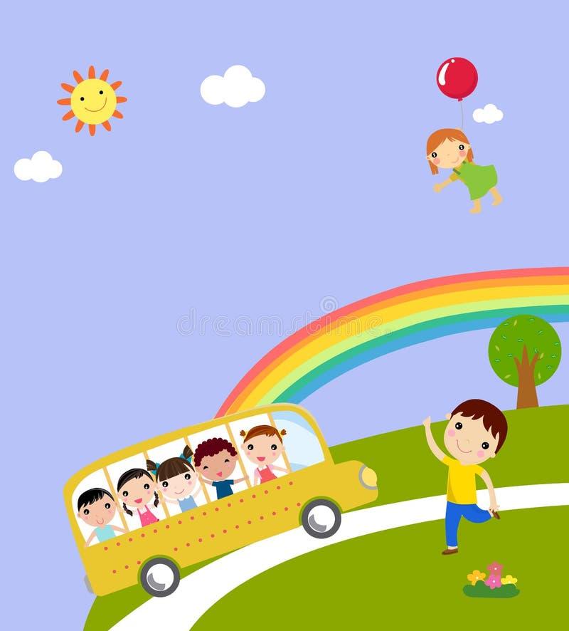 孩子和校车 皇族释放例证