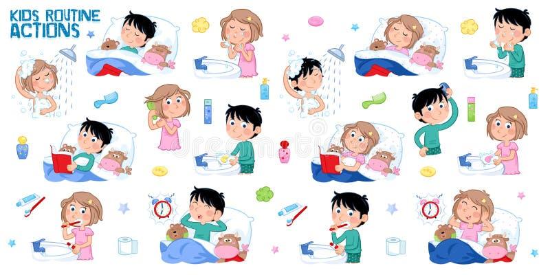 孩子和每日惯例-睡觉,淋浴,洗涤手和面孔,掠过的牙,梳头发,醒,上床时间 皇族释放例证
