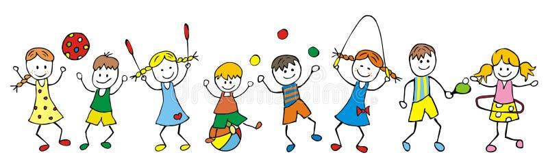 孩子和比赛 向量例证