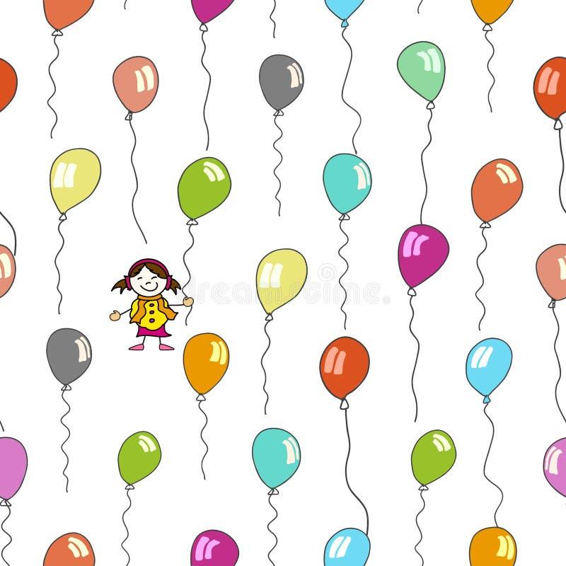 孩子和气球的无缝的样式 库存例证