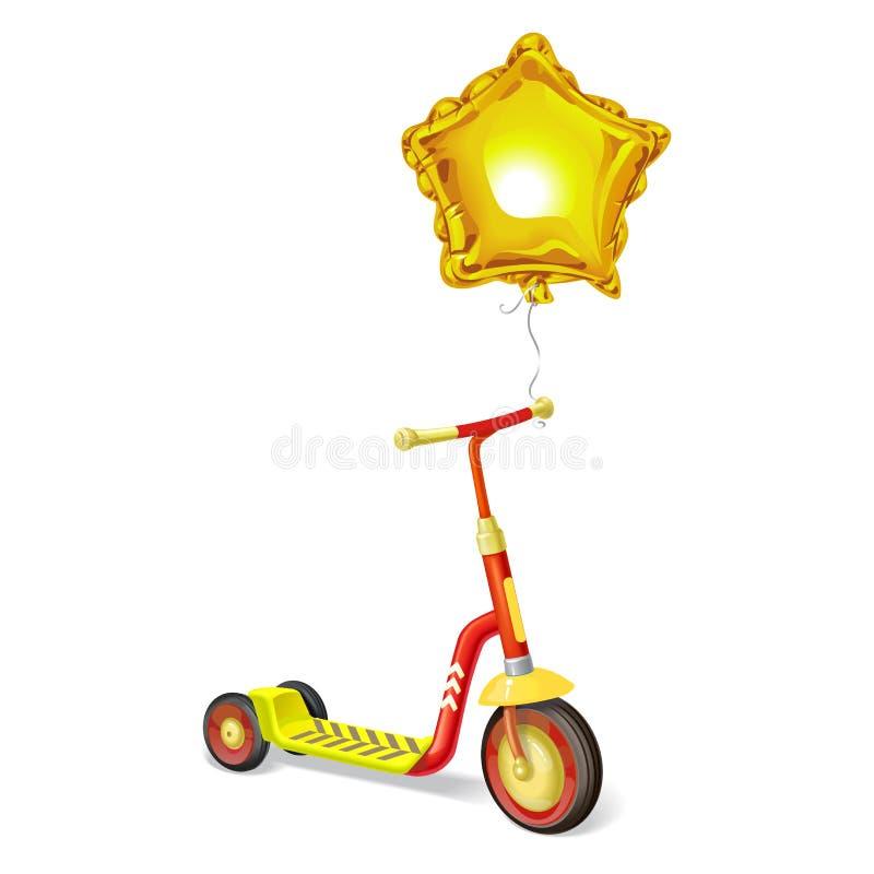 孩子和气球的色的路辗滑行车 平衡自行车 Eco市运输 传染媒介反撞力滑行车汇集 推挤周期isol 皇族释放例证