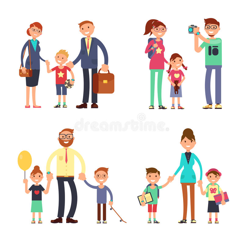 孩子和父母愉快的家庭的 被设置的妈妈、爸爸和儿童传染媒介平的字符 向量例证