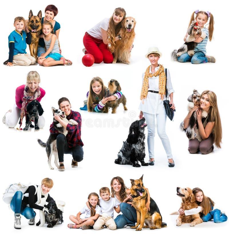 孩子和狗汇集照片  库存照片