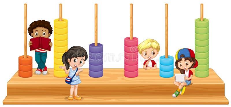 孩子和算术比赛 向量例证