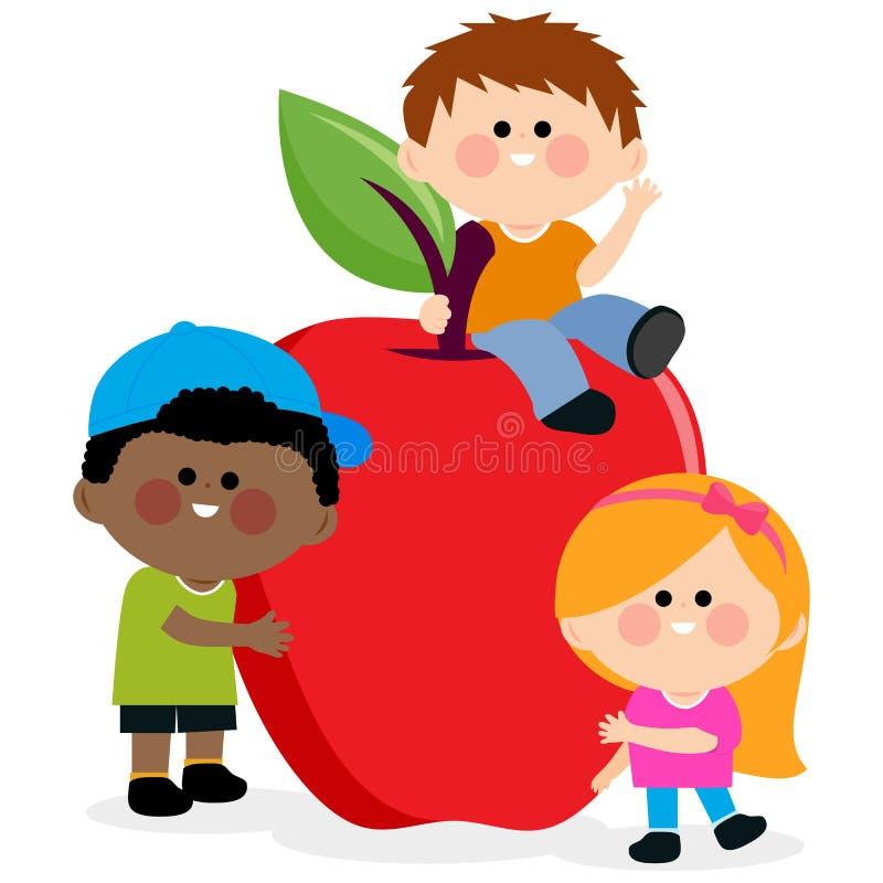 孩子和苹果 皇族释放例证