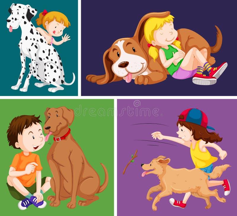 孩子和逗人喜爱的狗 向量例证