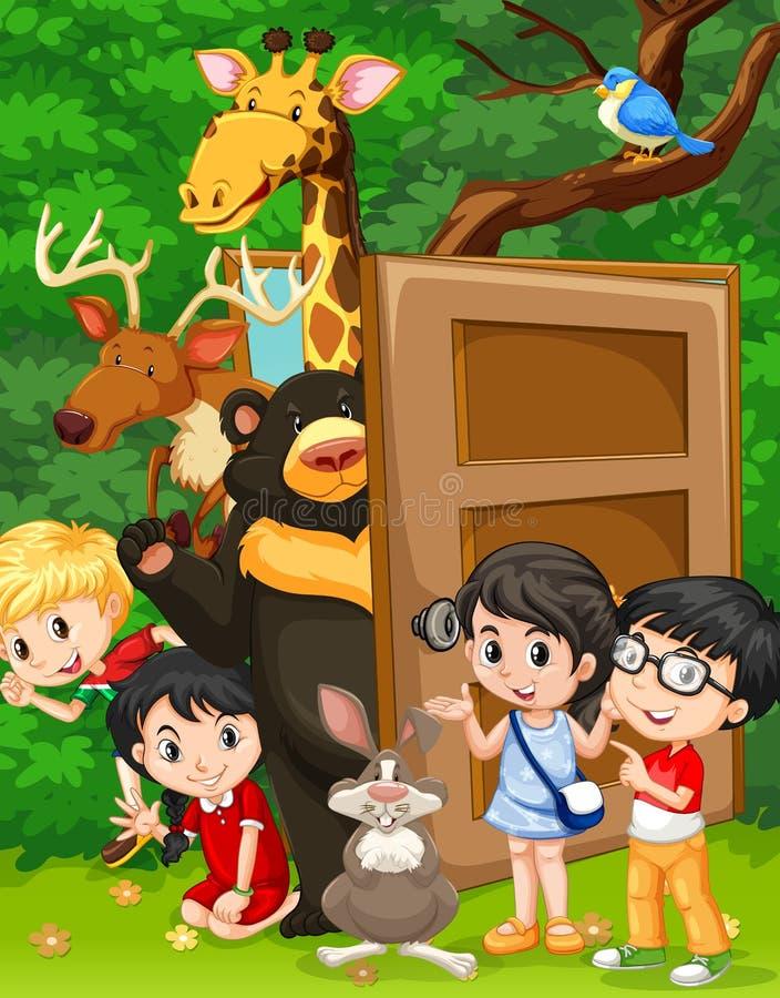 孩子和野生动物在密林 向量例证