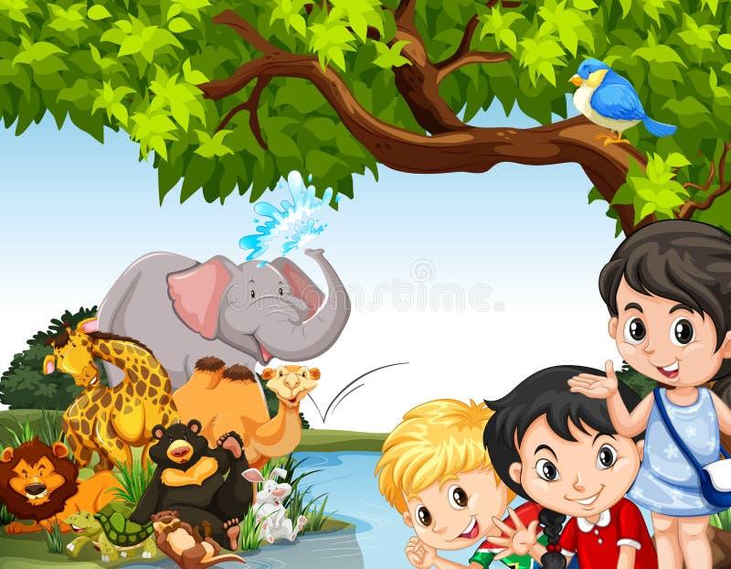 孩子和野生动物由池塘 向量例证