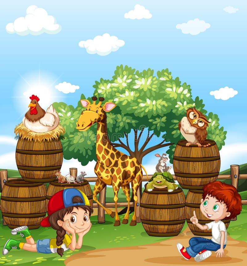 孩子和野生动物 向量例证