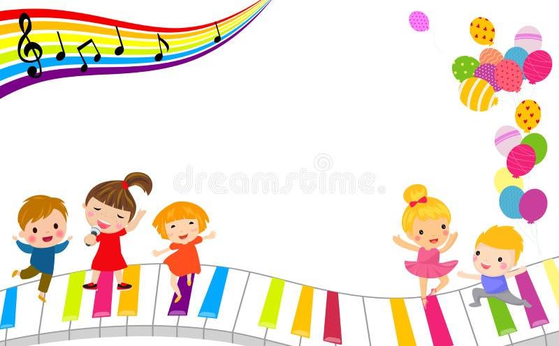 孩子和音乐框架 向量例证