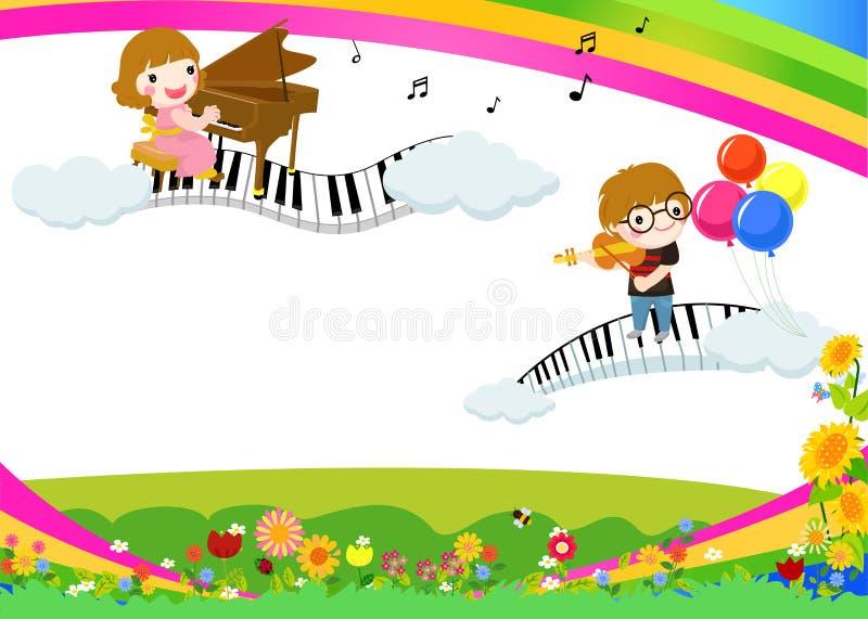 孩子和音乐 向量例证