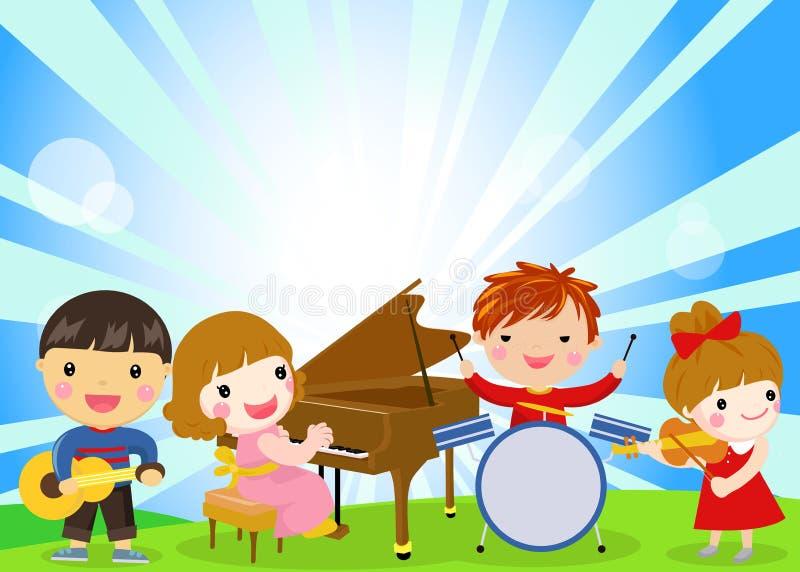 孩子和音乐 皇族释放例证