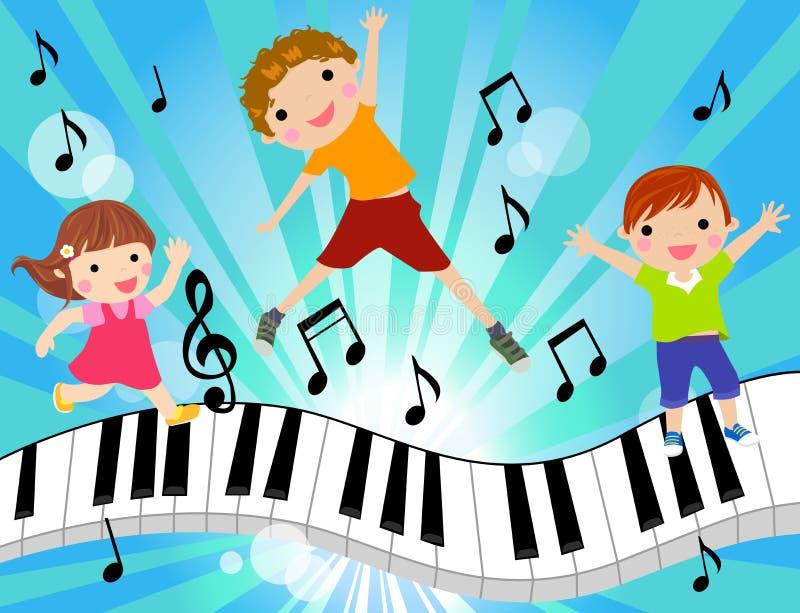 孩子和音乐 库存例证