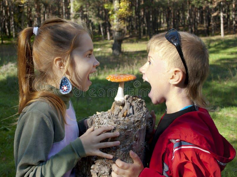 孩子和飞行伞菌 库存照片