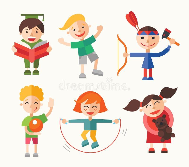 孩子和他们的爱好-被设置的平的设计字符 库存例证