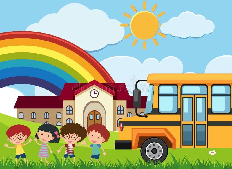 孩子和schoolbus在学校例证前面 艺术, 背包, 男朋友, 公共汽车, 子图片