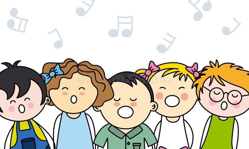 孩子唱歌 向量例证