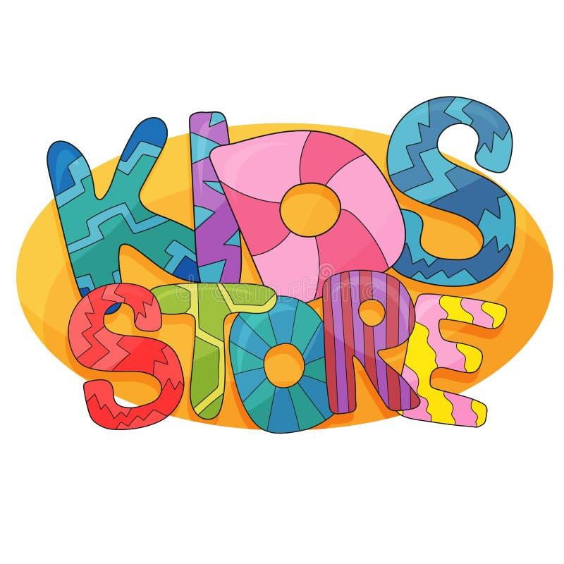 孩子商店传染媒介动画片商标 儿童的游戏室的五颜六色的泡影信件 向量例证