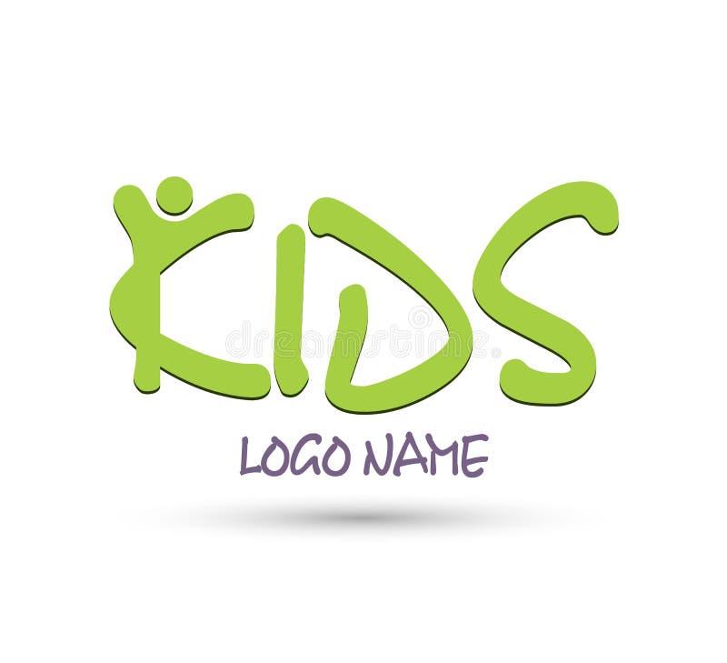 孩子商标设计传染媒介 皇族释放例证