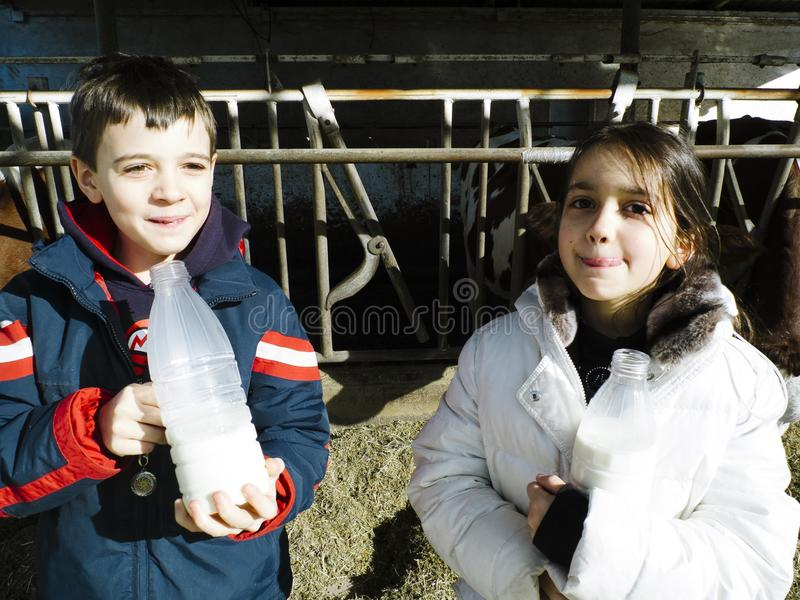 孩子喝新鲜的牛奶,从在一个农场的瓶,在Th后 库存照片