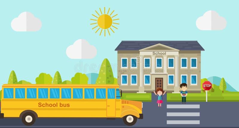 孩子回到学校 公共汽车、孩子和学校 皇族释放例证