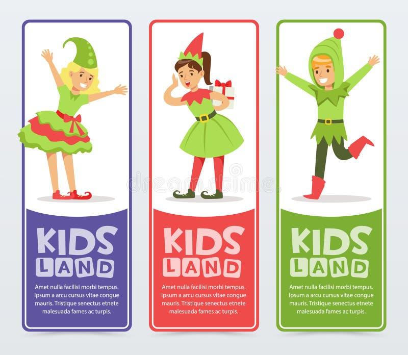 孩子土地横幅设置了,逗人喜爱的男孩和女孩矮子和新年树圣诞节服装的平的传染媒介元素为 皇族释放例证
