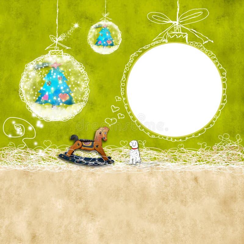 孩子圣诞节photoframe 免版税库存图片