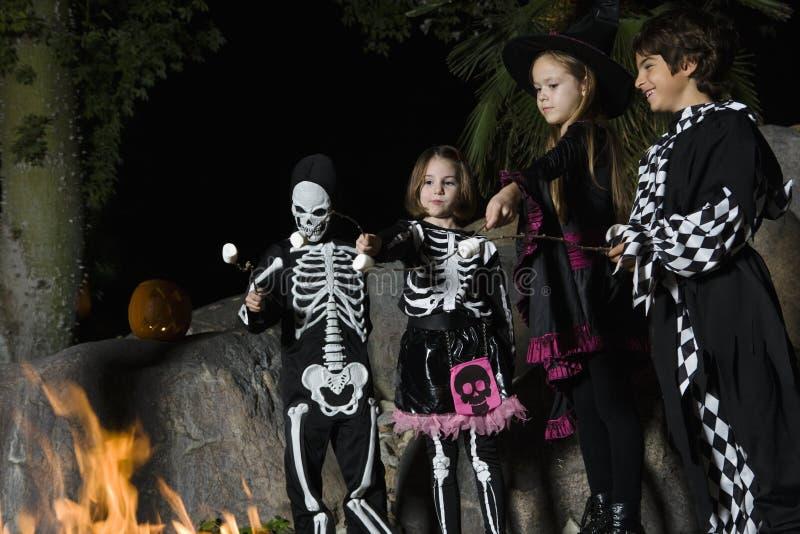 孩子在万圣夜打扮烹调在营火的蛋白软糖 图库摄影