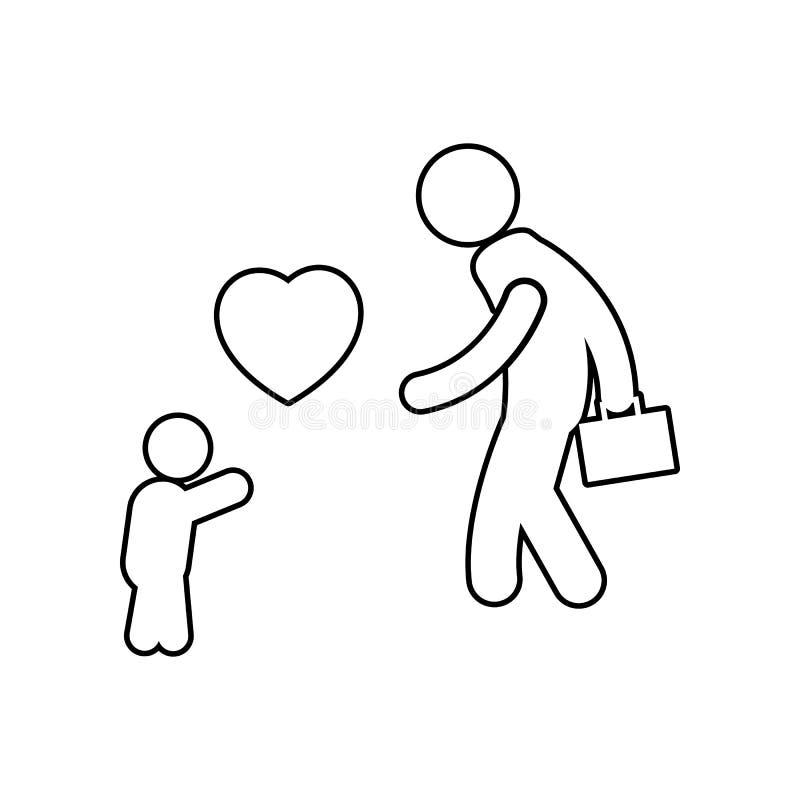 孩子在以后遇见他的父亲与爱象一起使用 家庭的元素流动概念和网应用程序象的 r 库存例证