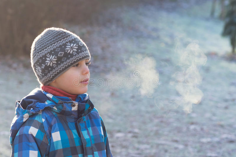 孩子在冷淡的早晨在公园 库存照片