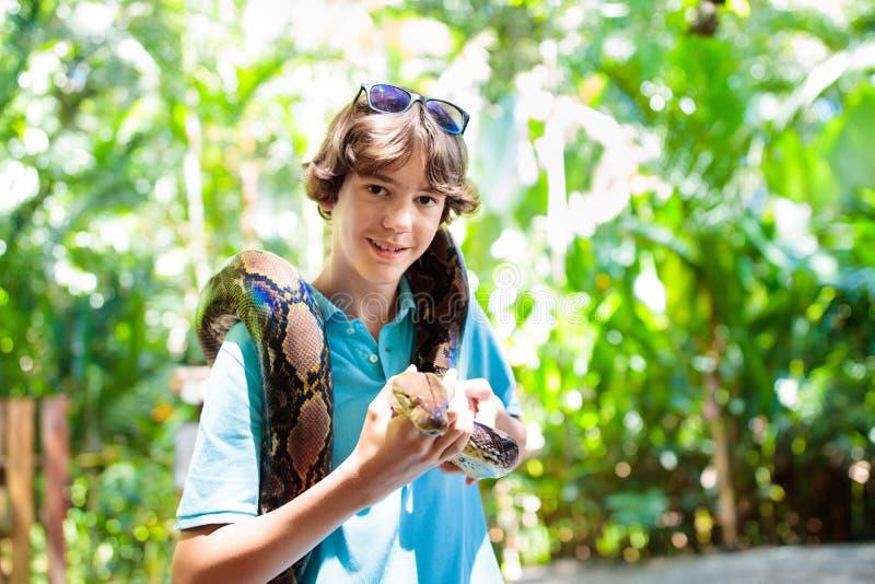 孩子在动物园拿着Python蛇 孩子和爬行动物 库存照片