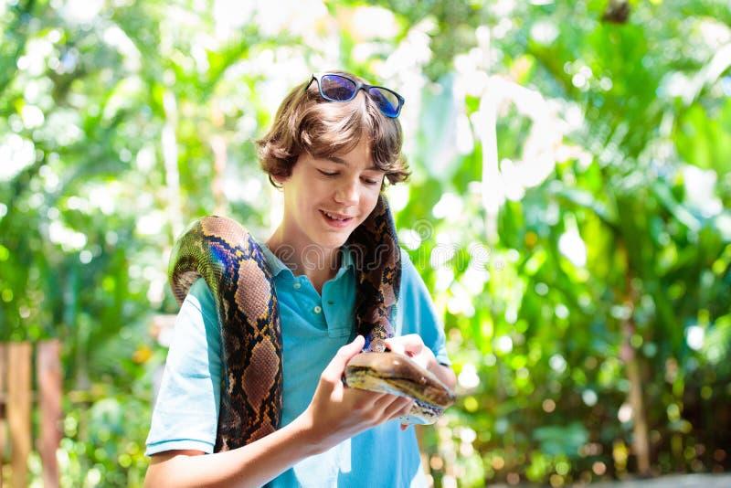 孩子在动物园拿着Python蛇 孩子和爬行动物 免版税库存照片