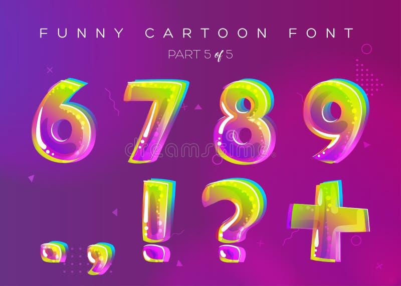 孩子在动画片样式的向量字体 明亮和五颜六色的3D信件 库存例证