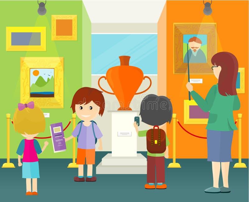 孩子在博物馆 皇族释放例证